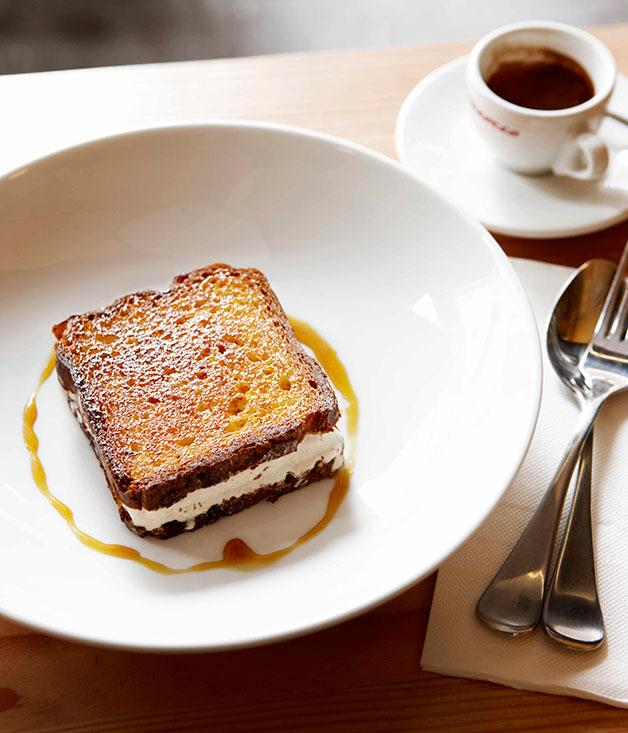 **** **Frozen favourite**   The toasted brioche ice-cream sandwich with caramel at Wilbur's Place in Potts Point, Sydney.      PHOTOGRAPHY CHRIS CHEN