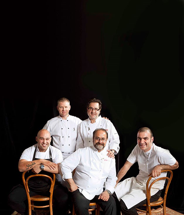 **** The chefs. Left to right, standing: Jason Camillo and Guy Grossi; seated: Shane Delia, Greg Malouf and Joseph Abboud.