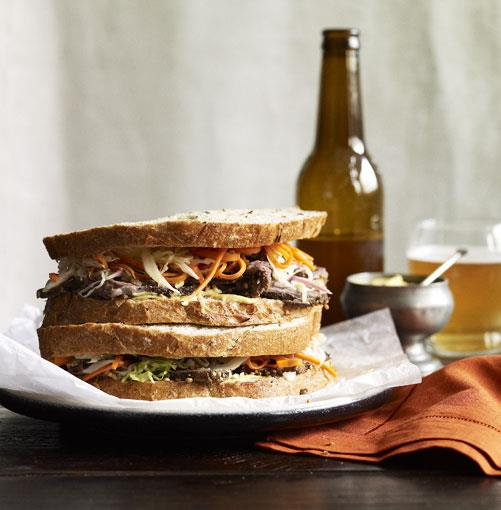 """**Wagyu brisket """"pastrami"""" sandwich with coleslaw** **[Wagyu brisket """"pastrami"""" sandwich with coleslaw](http://www.gourmettraveller.com.au/wagyu-brisket-pastrami-with-coleslaw.htm)**   Brisket is all about the combination of meat and fat, and this is a good way to introduce people to wagyu.   PHOTOGRAPH **CHRIS CHEN**    [View Recipe](http://www.gourmettraveller.com.au/wagyu-brisket-pastrami-with-coleslaw.htm)"""