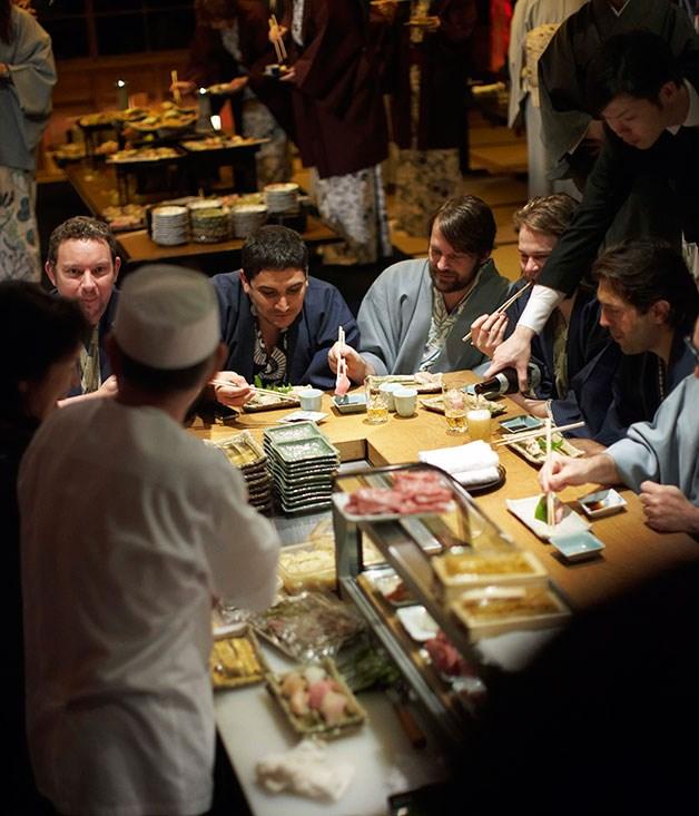**** Chefs Albert Adrià, Mauro Colagreco, René Redzepi, Magnus Nilsson and Ben Shewry talking sushi at the bar at Araya ryokan.