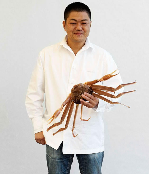 **** Yoshihiro Narisawa, of Tokyo's Les Créations de Narisawa, with a Noto Peninsula kanogani, one of the queen crabs for which Ishikawa is famed.