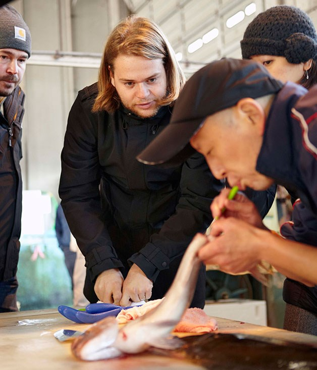 **** Magnus Nilsson and Sean Brock get up-close and personal in a demonstration of ike-jime spiking at the Nanao fish market.