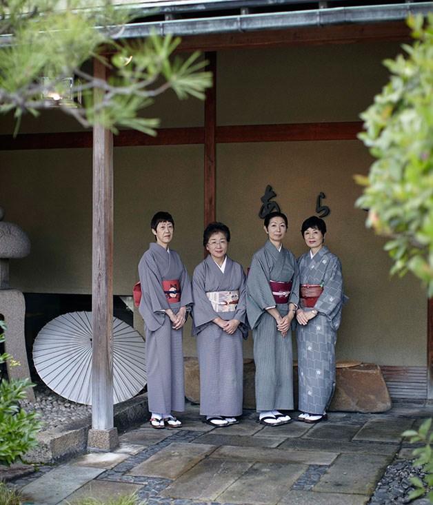 **** Staff clad in traditional clothing at Araya ryokan in Yamashiro in Ishikawa prefecture.