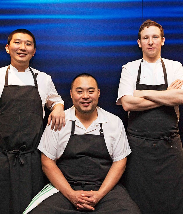 **** Momofuku chefs (from left) Peter Serpico, David Chang and Benjamin Greeno.