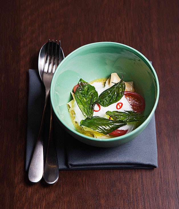 **** Momofuku Seiobo's hand-torn pasta with goat's cheese, pickled tomatoes and fried basil leaves.