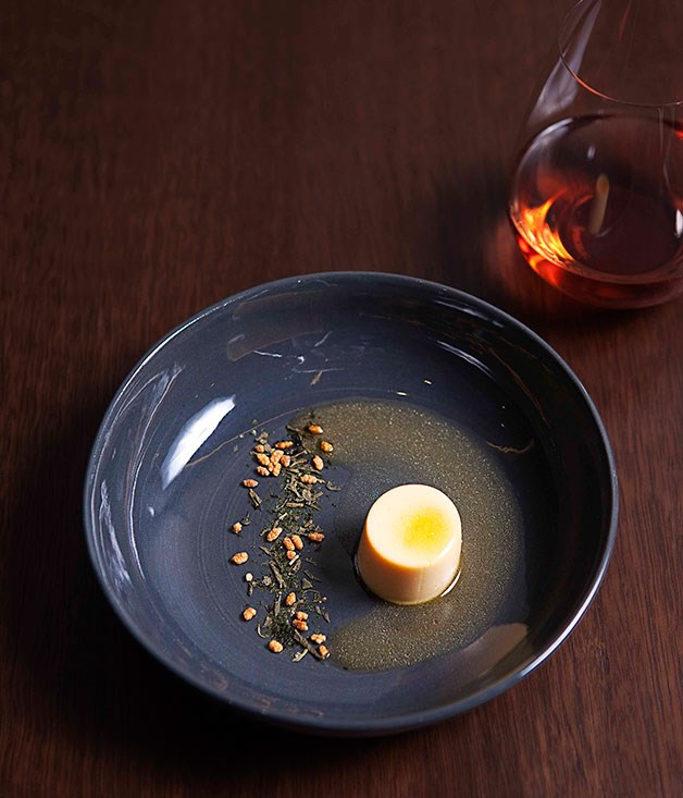**** David Chang's egg with tea and roasted rice.