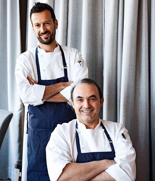 **** Stefano Manfredi (centre, seated) and head chef Gabriele Taddeucci at Balla.