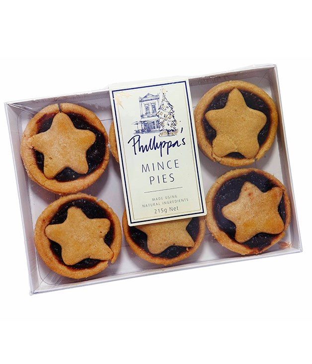 **** PHILLIPPA'S MINCE PIES Pack of 6, $14.90   I like the fact that there's a cut-out and you can see the mince. To me there's a bit too much pastry compared with fruit, and the mince is all the same. JS 2   The mince looks pasty and there's not much spice. The pastry is okay. No flakiness. CT 2   I love a little star on top of a mince pie, but it doesn't taste like a real mince pie to me. The mince filling is a bit pasty and the pastry is not that great. LF 2