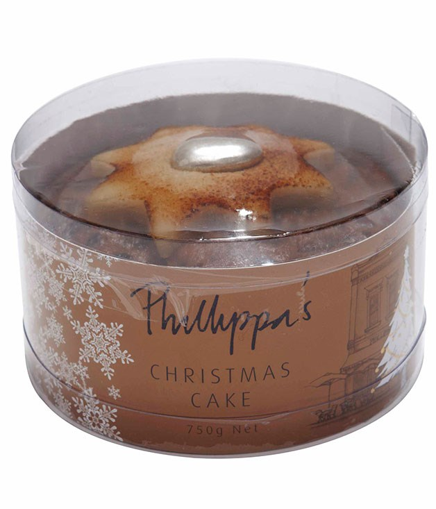 **** PHILLIPPA'S CHRISTMAS CAKE 750gm, $32   The colour of the cake is good. It's very sweet and the chunks of gluggy fruit are overwhelming. I reckon it could have a bit more spice and it should be a bit moister. JS 2.6   It's a little claggy and one-dimensional. It's not punchy enough to call special. JT 3   It's a bit dry and that big chunk of fruit is a bit off-putting for me. There's little spice. LF 3