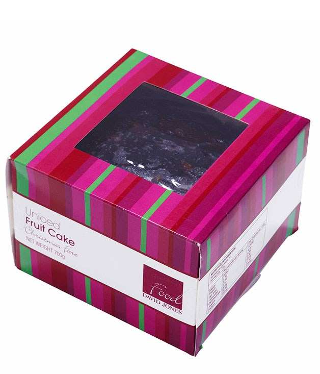 **** DAVID JONES UN-ICED FRUIT CAKE 700gm, $22.95   I like that it's square, so you can have a slice – as opposed to a wedge – with your cup of tea. There's a flavour in there I don't like – almond essence. It seems to have more flour and a lot less fruit than the other ones. JS 1.5   Some of these had paper on the sides, which makes you think someone's lined the tin – that only happens in small places. A bit cloying. CT 2   It looks quite rustic – I don't mind a rustic-looking cake. Too much almond essence. The ginger powder and cinnamon are too strong and it's too sweet. LF 1