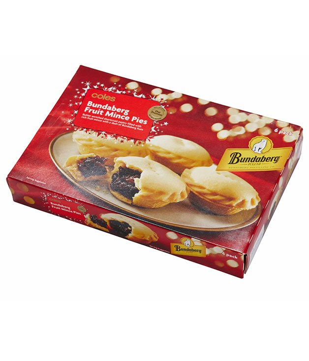 **** COLES BUNDABERG RUM MINCE PIES Pack of 6, $4   The filling-to-pastry ratio is good, but the pastry is an odd yellow colour. I quite like the filling; there's plenty of mince, which is good. JS 3   The yellow is like a fake yellow. The pastry tastes of lolly bananas, but the mince is not bad CT 2.5   That custard colour is a bit off-putting. There's a strong fig taste. The filling is very moist, which is great. I didn't like the aftertaste with this – it's really quite strong, quite tangy. LF 3