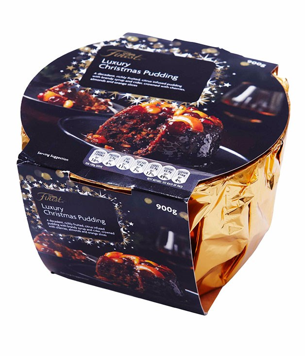 **** COLES LUXURY CHRISTMAS PUDDING 900gm, $14   I like that they've left the almonds whole and the peel chunky. It's got a great mouth-feel, it's got punch. There'd be no shame in rocking up with this to somebody's house. JS 4.5   Great presentation. It has character, it has life. The taste is intense and perfectly balanced. It's got grog in there which I like. I only don't like the soft texture. CT 4   Presentation: gorgeous. Definitely the most character. The candied orange on top is beautiful, but I don't like the texture. It's quite intense, for sure. LF 3