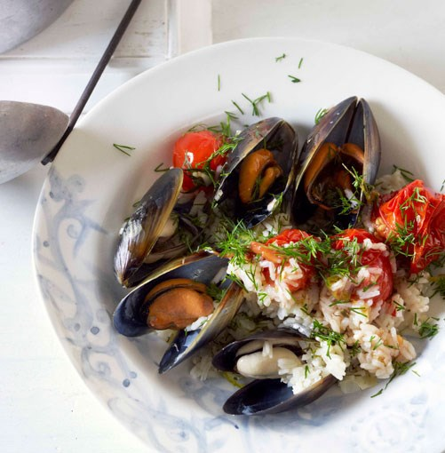 **** **Mussels cooked in a tomato and rice pilaf**    [View Recipe](http://www.gourmettraveller.com.au/mussels-cooked-in-a-tomato-and-rice-pilaf-with-dill.htm)     PHOTOGRAPH **CHRIS CHEN**