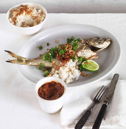 **** **Roast bream with sambal and coconut rice**    [View Recipe](http://www.gourmettraveller.com.au/roast-bream-with-sambal-and-coconut-rice.htm)     PHOTOGRAPH **JASON LOUCAS**