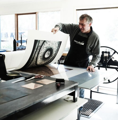 **Printmaker Jeff Gardner, Cascade Print Workshop, near Castlemaine** Printmaker Jeff Gardner, Cascade Print Workshop, near Castlemaine.