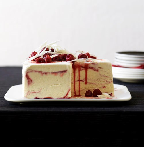 "[**White chocolate and raspberry-ripple ice-cream cake**](http://gourmettraveller.com.au/white_chocolate_and_raspberryripple_icecream_cake.htm|target=""_blank"")"