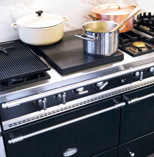 **Guy Grossi's home kitchen.** Guy and Melissa Grossi's Lacanche cooker.