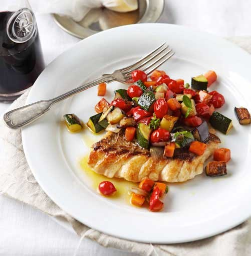 **Ratatouille with ruby snapper** **Ratatouille with ruby snapper**    [View Recipe](http://www.gourmettraveller.com.au/ratatouille-with-ruby-snapper.htm)     PHOTOGRAPH **VANESSA LEVIS**