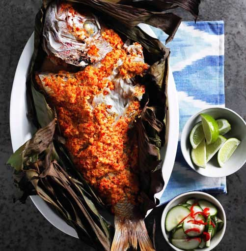 **Grilled fish in banana leaves** **Grilled fish in banana leaves with cucumber pickle (ikan panggang dengan acar ketimun)**    [View Recipe](http://www.gourmettraveller.com.au/grilled-fish-in-banana-leaves-with-cucumber-pickle-ikan-panggang-dengan-acar-ketimun.htm )     PHOTOGRAPH **BEN DEARNELY**