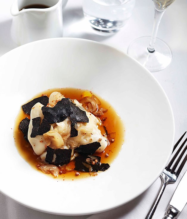 **Lobster ravioli with black truffle** Lobster ravioli with black truffle.