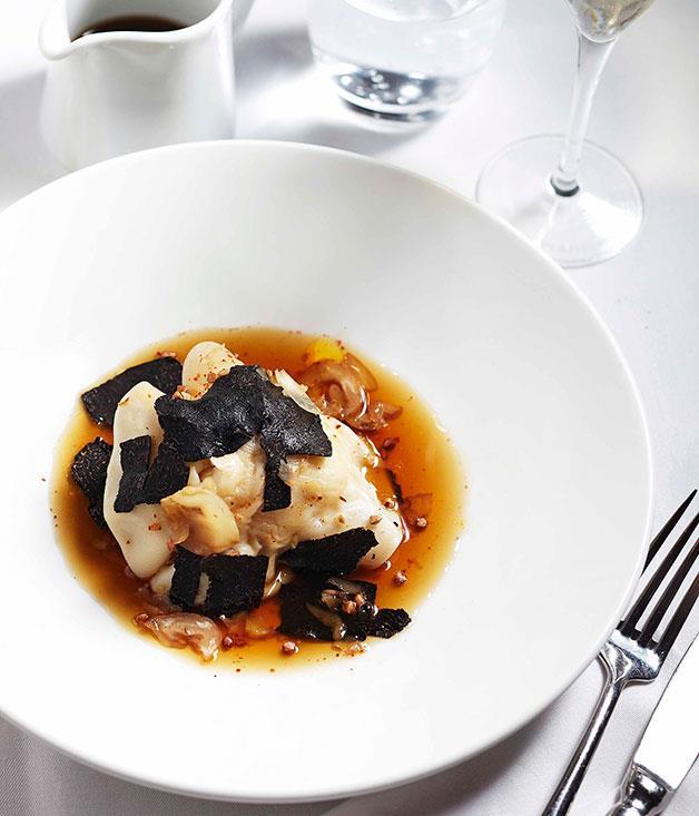 **Lobster ravioli with black truffle** Lobster ravioli with black truffle.