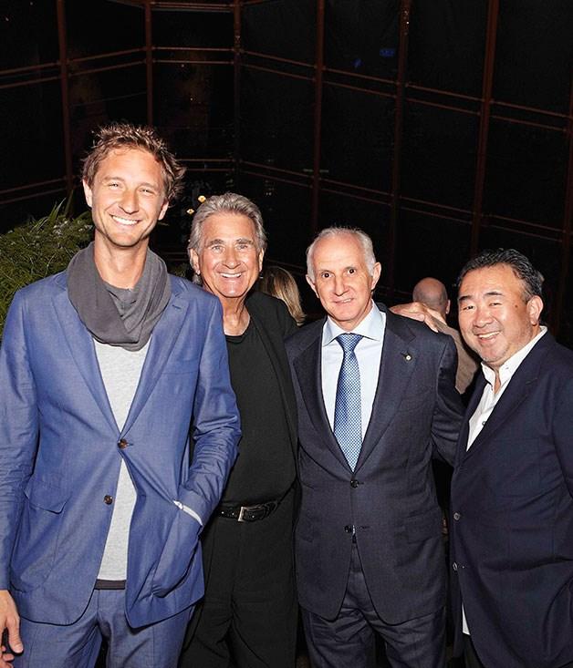 **Justin and Mr John Hemmes with Tetsuya Wakuda** Winners of the Oustanding Contribution to Hospitality award Justin and Mr John Hemmes with Tetsuya Wakuda (Tetsuya's, far right).