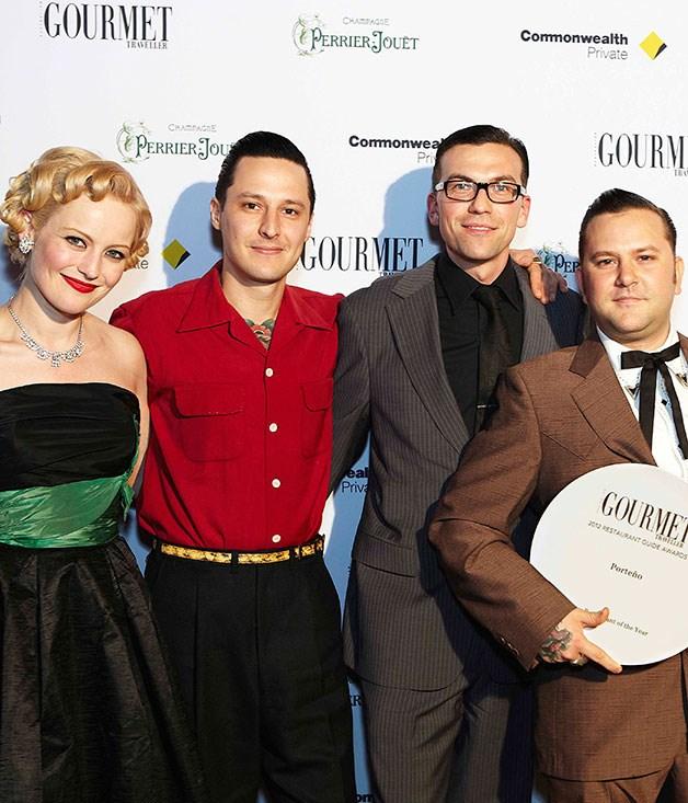 **** New Restaurant of the Year award winners Sarah Doyle, Elvis Abrahanowicz, Joe Valore and Ben Milgate from Porteño and Bodega.