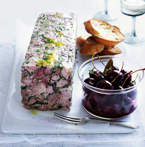 **Pork and parsley terrine with pickled cherries** **Pork and parsley terrine with pickled cherries**    [View Recipe](http://www.gourmettraveller.com.au/pork-and-parsley-terrine-with-pickled-cherries.htm)     PHOTOGRAPH **BEN DEARNLEY**