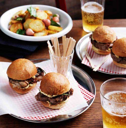 **Pork neck sliders** **Pork neck sliders**    [View Recipe](http://www.gourmettraveller.com.au/pork-neck-sliders.htm)     PHOTOGRAPH **BEN DEARNLEY**