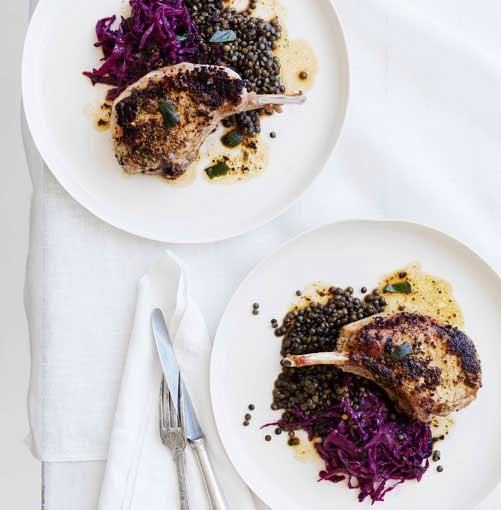 **Mustard and sage pork cutlets with red wine cabbage and lentils** **Mustard and sage pork cutlets with red wine cabbage and lentils**    [View Recipe](http://www.gourmettraveller.com.au/mustard-and-sage-pork-cutlets-with-red-wine-cabbage-and-lentils.htm)     PHOTOGRAPH **WILLIAM MEPPEM**