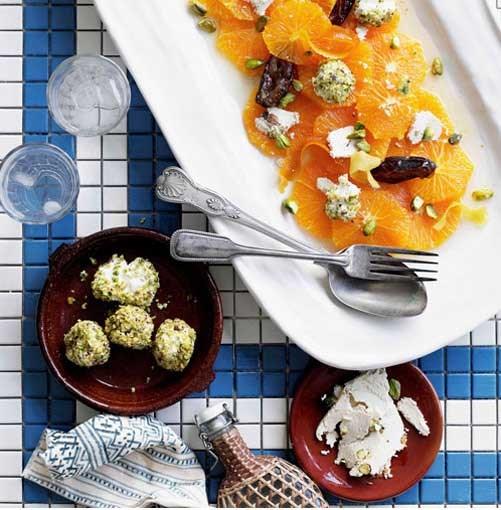 **Date and orange salad with halva and pistachio yoghurt** **Date and orange salad with halva and pistachio yoghurt**    [View Recipe](http://www.gourmettraveller.com.au/date-and-orange-salad-with-halva-and-pistachio-yoghurt.htm)     PHOTOGRAPH **BEN DEARNLEY**