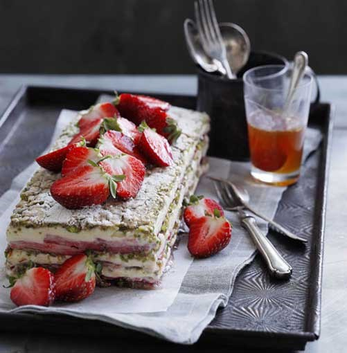 **Strawberry yoghurt and pistachio layer cake** **Strawberry yoghurt and pistachio layer cake**    [View Recipe](http://www.gourmettraveller.com.au/strawberry-yoghurt-and-pistachio-layer-cake.htm)     PHOTOGRAPH **BEN DEARNLEY**