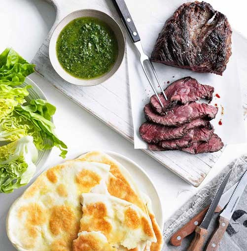 **Hanger steak with chimichurri and yoghurt flatbread** **Hanger steak with chimichurri and yoghurt flatbread**    [View Recipe](http://www.gourmettraveller.com.au/hanger-steak-with-chimichurri-and-yoghurt-flatbread.htm)     PHOTOGRAPH **WILLIAM MEPPEM**