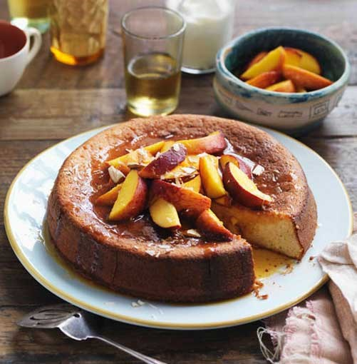 **Yoghurt and almond cake with orange caramel peaches and vanilla yoghurt** **Yoghurt and almond cake with orange caramel peaches and vanilla yoghurt**    [View Recipe](http://www.gourmettraveller.com.au/yoghurt-and-almond-cake-with-orange-caramel-peaches-and-vanilla-yoghurt.htm)     PHOTOGRAPH **WILLIAM MEPPEM**