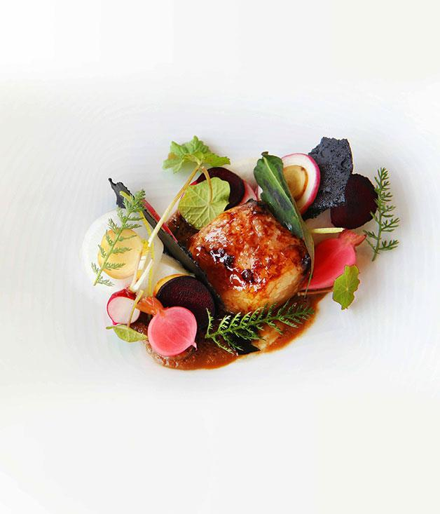 **Royal Mail Hotel, Victoria** Royal Mail Hotel's eel and bone marrow with pickled vegetables.