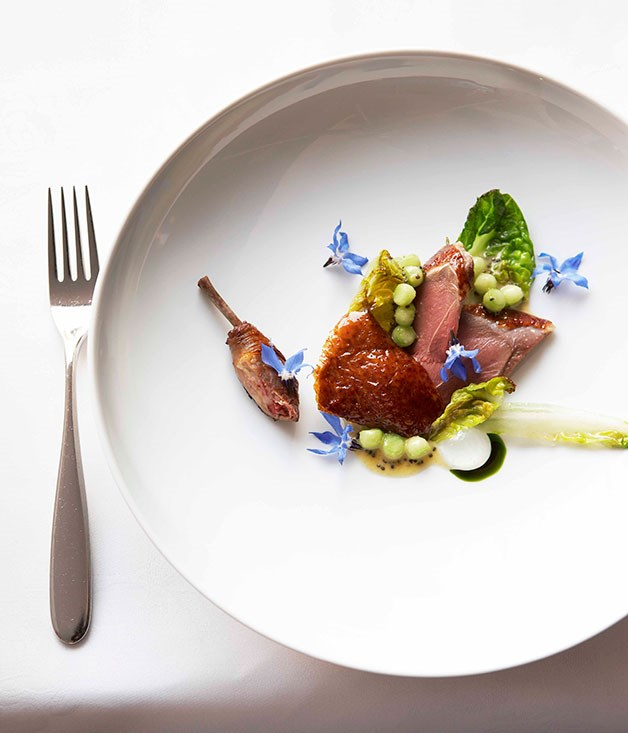 **Marque restaurant's pigeon dish** Marque's pigeon with mullet roe, sautéed lettuce and cucumber.