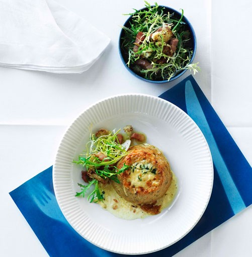 **Double-baked cauliflower and Gruyère soufflé with frisée and lardon salad** **Double-baked cauliflower and Gruyère soufflé with frisée and lardon salad**    [View Recipe](http://www.gourmettraveller.com.au/doublebaked_cauliflower_and_gruyre_souffl_with_frise_and_lardon_salad.htm)     PHOTOGRAPH **WILLIAM MEPPEM**