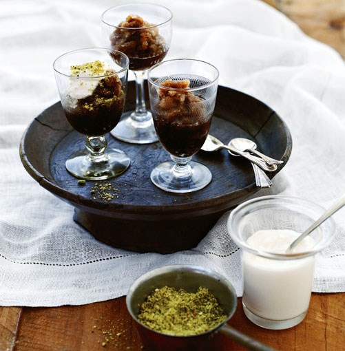 **Coffee and cardamom granita with cream** **Coffee and cardamom granita with cream**    [View Recipe](http://gourmettraveller.com.au/coffee-and-cardamom-granita-with-cream.htm)     PHOTOGRAPH **SHARYN CAIRNS**