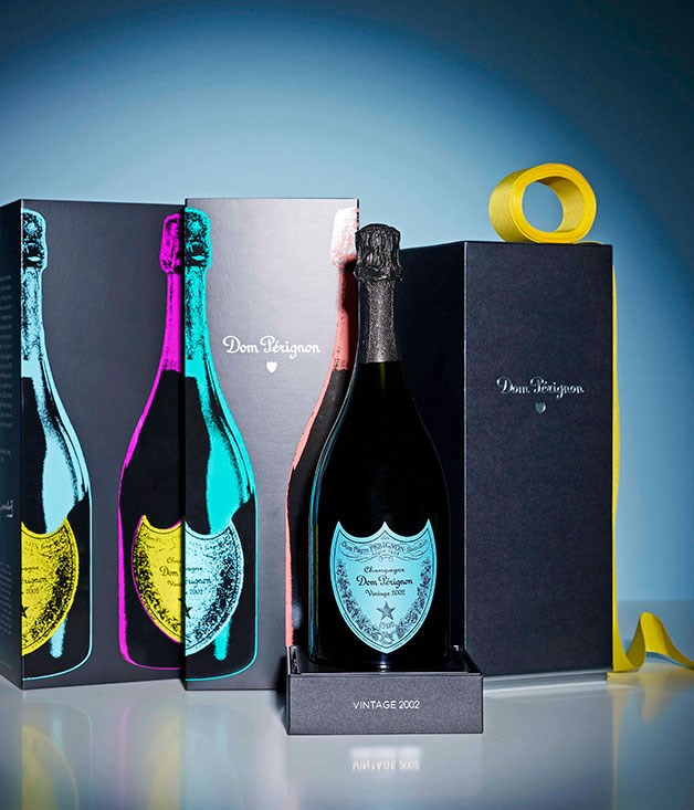 **Tribute to Andy Warhol by Dom Pérignon** TO TOAST AN EXCEPTIONAL PAIR      There's no better way to put some Pop in your cork than with the 2002 vintage of Dom Pérignon in three limited-edition bottle designs by the Design Laboratory at London's Central Saint Martins school. Tribute to Andy Warhol by Dom Pérignon, $295, David Jones