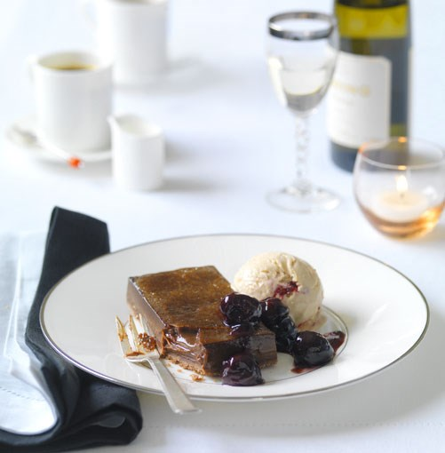 **Chocolate brûlée tart with cherry parfait** **Chocolate brûlée tart with cherry parfait**    [View Recipe](http://gourmettraveller.com.au/chocolate_brulee_tart_with_cherry_parfait.htm)     PHOTOGRAPH **WILLIAM MEPPEM**