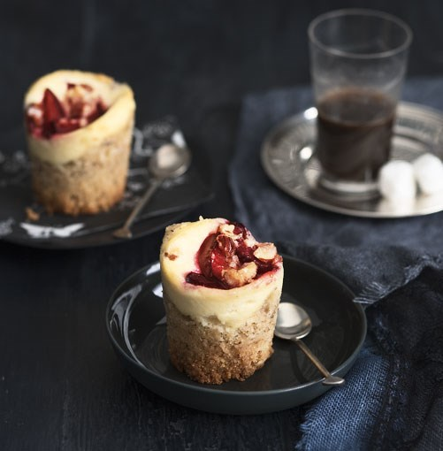 **Plum and ricotta crumble cakes** **[Plum and ricotta crumble cakes](http://www.gourmettraveller.com.au/plum-and-ricotta-crumble-cakes.htm)**   The beauty of these cakes lies in their adaptability. You can use almonds or pistachios instead of hazelnuts. And if you can't get plums, scatter the cakes with frozen berries or with slivers of apple instead.      PHOTOGRAPH **AMANDA MCLAUCHLAN**      [](http://www.gourmettraveller.com.au/plum-and-ricotta-crumble-cakes.htm)