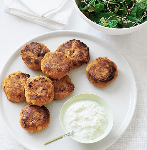 **Chickpea and sweet potato cakes with green bean and mint salad** **Chickpea and sweet potato cakes with green bean and mint salad**    [View Recipe](http://gourmettraveller.com.au/chickpea_and_sweet_potato_cakes_with_green_bean_and_mint_salad.htm)     PHOTOGRAPH **CHRIS CHEN**