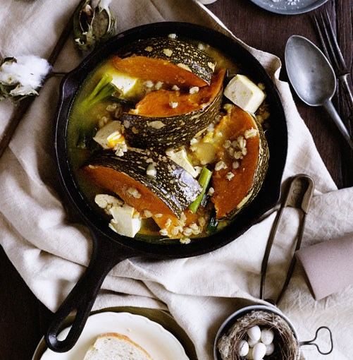 **Pumpkin, pearl barley and miso braise** **Pumpkin, pearl barley and miso braise**    [View Recipe](http://gourmettraveller.com.au/pumpkin_pearl_barley_and_miso_braise.htm)     PHOTOGRAPH **BEN DEARNLEY**