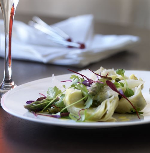 **Braised artichokes with asparagus and pecorino** **Braised artichokes with asparagus and pecorino**    [View Recipe](http://gourmettraveller.com.au/braised_artichokes_with_asparagus_and_pecorino.htm)     PHOTOGRAPH **WILLIAM MEPPEM**