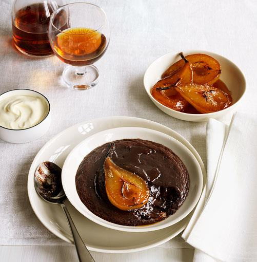 **Baked chocolate cream with ginger-poached pears** **Baked chocolate cream with ginger-poached pears**    [View Recipe](http://www.gourmettraveller.com.au/baked-chocolate-cream-with-ginger-poached-pears.htm)     PHOTOGRAPH **JASON LOUCAS**