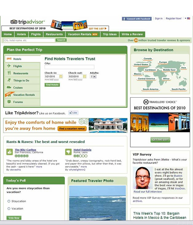 **www.tripadvisor.com** Expert Panel Awards: Most Indispensable Website   www.tripadvisor.com   Runner-up: www.wotif.com   Our homegrown hotel-booking site, wotif.com, was pipped at the post this year by the globe's most helpful internet travel guide. Founded in 2000, tripadvisor.com is best-known for its candid hotel reviews, which are posted by ordinary albeit well-travelled and opinionated people from around the world. The reviews have become an indispensable aid for millions of people deciding where to book their next holiday. To date, more than 450,000 hotels have been assessed and 2 million traveller photos published to back up those reviews. Over time, the site has evolved to also offer downloadable guides to more than 13,000 popular destinations, as well as flight searches and airline seat maps, plus restaurant recommendations. Today it has websites in 19 countries, from India to Italy, and, through businesses such as cruisecritic.com and seatguru.com, it's the most comprehensive travel research tool on the web.