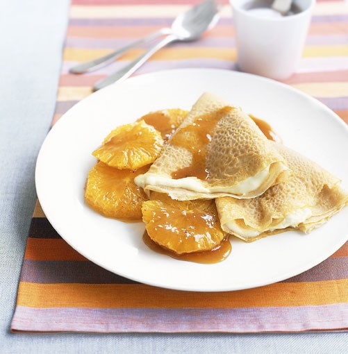 **Crepes with honeyed oranges** **Crepes with honeyed oranges**    [View Recipe](http://www.gourmettraveller.com.au/crepes_with_honeyed_oranges.htm)     PHOTOGRAPH **CHRIS COURT**