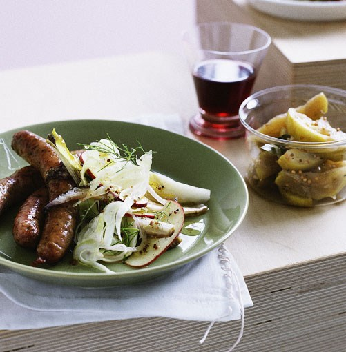 **Pork and fennel sausages with apple relish** **Pork and fennel sausages with apple relish**    [View Recipe](http://gourmettraveller.com.au/pork_and_fennel_sausages_with_apple_relish.htm)     PHOTOGRAPH **BEN DEARNLEY**