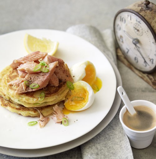 **Leek pikelets with smoked rainbow trout and soft-boiled egg** **Leek pikelets with smoked rainbow trout and soft-boiled egg**    [View Recipe](http://gourmettraveller.com.au/leek_pikelets_with_smoked_rainbow_trout_and_softboiled_egg.htm)     PHOTOGRAPH **CHRIS CHEN**