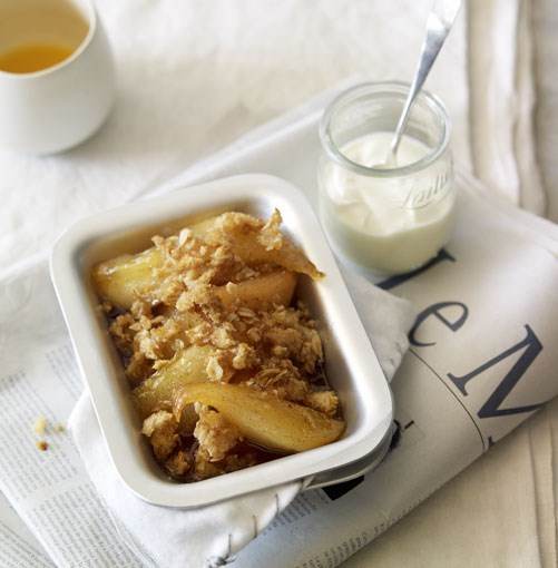 **Honey-baked pear breakfast crumble** **Honey-baked pear breakfast crumble**    [View Recipe](http://gourmettraveller.com.au/honeybaked_pear_breakfast_crumble.htm)     PHOTOGRAPH **CHRIS CHEN**